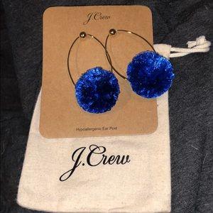 NWOT J Crew Blue Pom Earrings